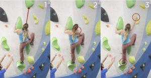 En el último movimiento, la escaladora parece que sabe lo que tiene que hacer (1), inicia el movimiento de impulso, se decide a progresar hacia el top (2), pero... ¿es la toma de la decisión la que flaquea e impide la consecución de la ejecución? El pie no se despega del apoyo (3) y la decisión, y en consecuencia la ejecución, se modifican (3).