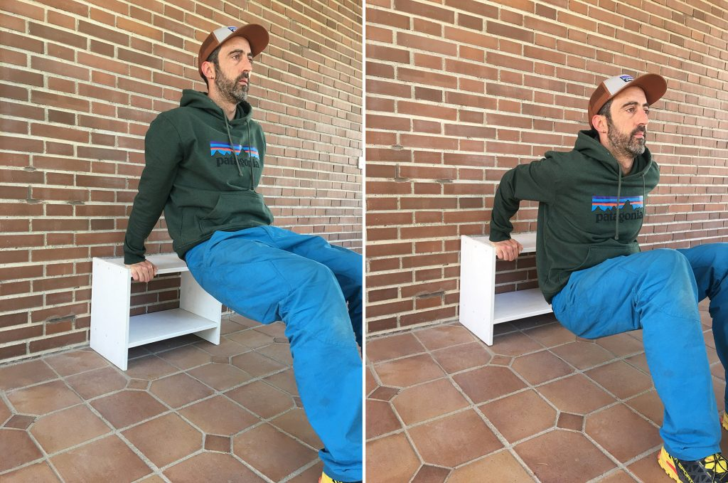 Yo entreno con mis muebles. Improvisando un banco para hacer flexiones y ejercicios con nuestro propio peso corporal.