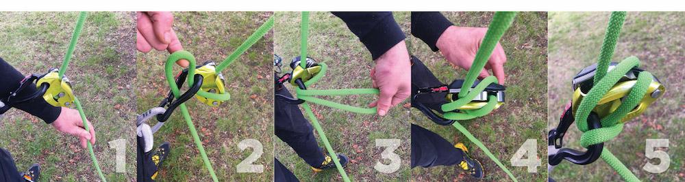 Bloqueo de Grigri. 1. Coge un bucle de la cuerda inactiva. 2. Introdúcelo de abajo a arriba por el mosquetón. 3. Saca el bucle. 4 y 5. Pásalo de izquierda a derecha, ajustándolo bien.