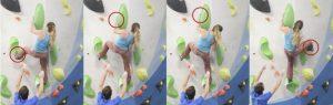 La escaladora experimenta nuevas posiciones que le permiten reajustar sus agarres.¿Es esta la razón por la que decide volver a intentar de nuevo el talón?