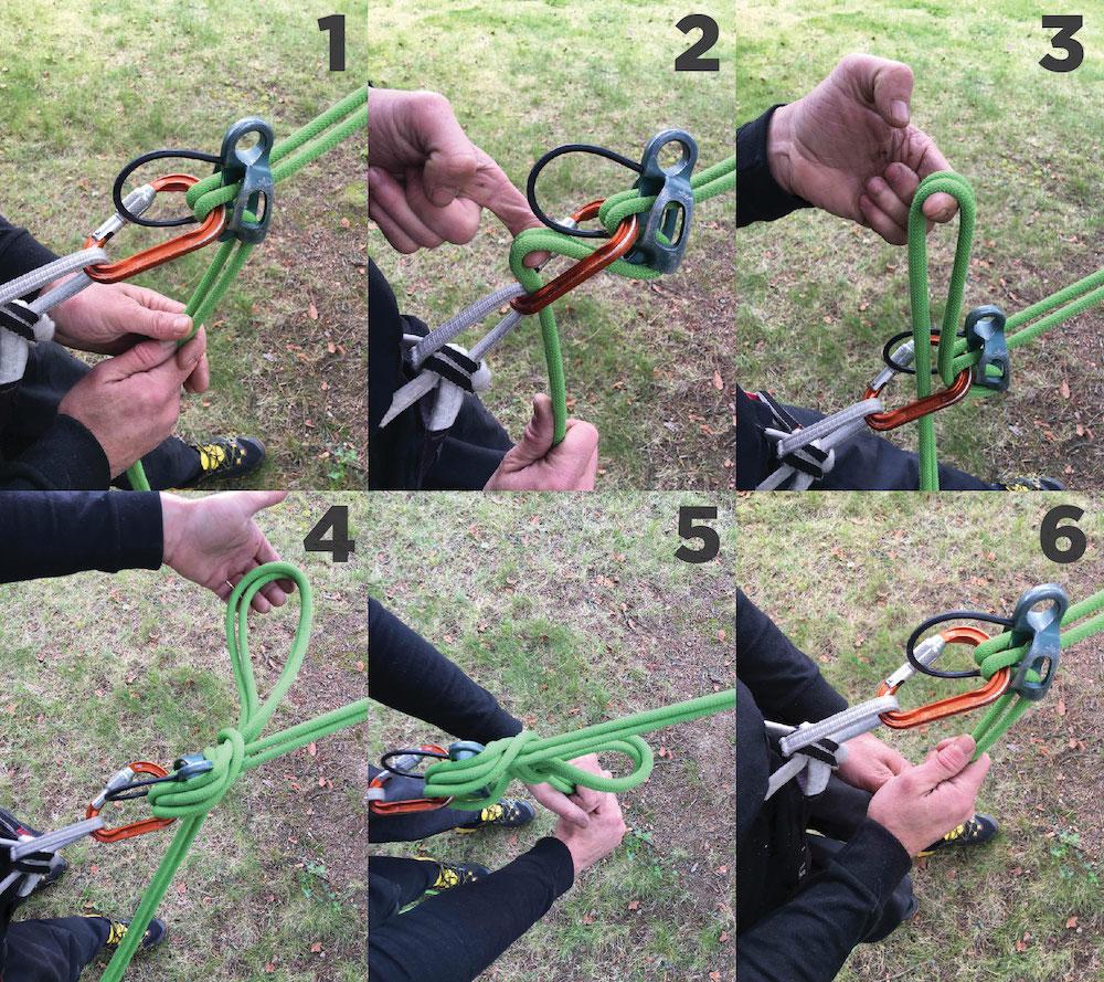 Fugar un Reverso: 1. Tensa la cuerda inactiva. 2. Introduce un bucle por el mosquetón. 3, 4. Realiza la fuga por delante del Reverso. 5. Ajústalo bien en el Reverso y deja un bucle de unos 30 cm. 6. Para deshacerlo, solo has de tirar de las cuerdas inactivas.