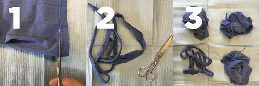 Extiende la camiseta y corta puños, cuello y cintura (1), quita los hilos sobrantes (2) y separa los tipos (3).