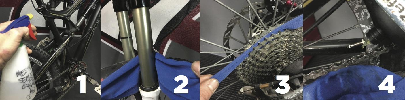 Diluimos la suciedad con la mezcla secreta (1), pasamos los trapos por horquilla (2), casette (3) y cadena. El barro seco cuando fricciona con las piezas las desgasta más rápido.