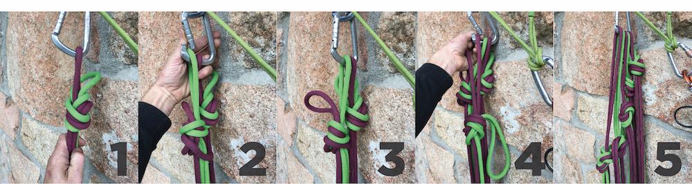 Ordenar las gazas en la reunión. 1. Coge 10 metros de cuerda, haz una gaza y mosquetonea una de las dos. 2. Repite y esta vez deja la gaza un poco más larga; mosquetonea la otra. 3. Deja una de cada color mosquetoneada y una oreja de cada una suelta. 4. Repite cogiendo otros 10 metros y haciendo una gaza más larga. 5. Tendrás 50 metros de cuerda recogida y ordenada por colores. Las gazas cada vez más largas evitan que los nudos se solapen, de este modo quedan en escalera y todo más claro.