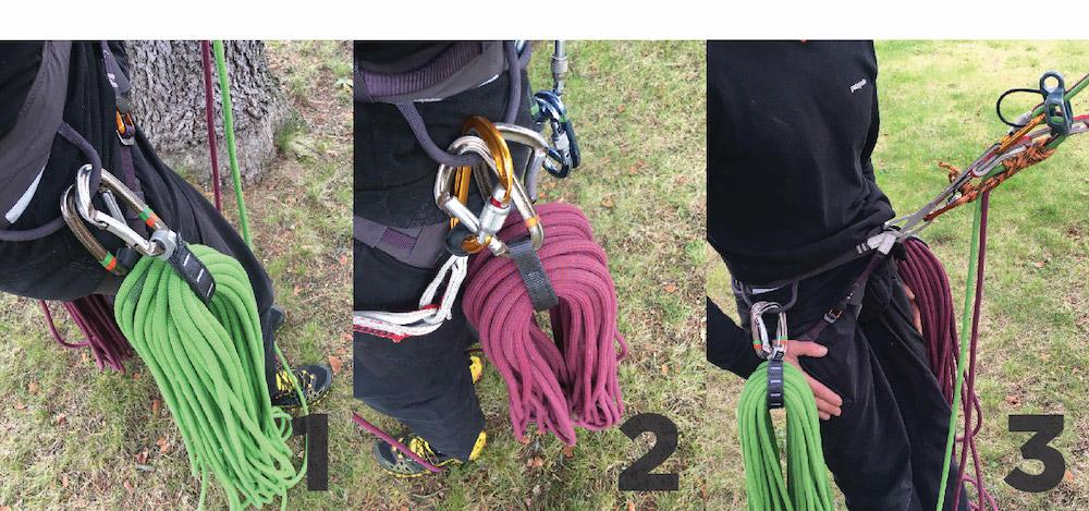Cuerda recogida durante un rápel. 1. Detalle de cuerda colgada en el arnés con una cinta express larga. 2. Detalle de la otra cuerda en el otro lado para compensar el peso. 3. Detalle de la maniobra completa (rápel autoasegurado y cuerdas colocadas).